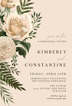 Cream Bouquets - Rehearsal Dinner Party Invitation #invitations #printable #diy #template #Rehearsaldinner #wedding Free Wedding Invitation Templates, Engagement Invitation Template, Engagement Party Invitations, Wedding Invitation Design, Dinner Party Invitations, Bridal Shower Invitations, Save The Date Cards, Wedding Bouquets, Cream