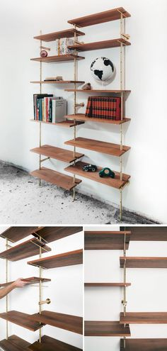 Using brass and Sapele wood, Toronto-based designer Ryan Taylor, has created Brass Rail Shelving, a fully customizable modern shelving system.