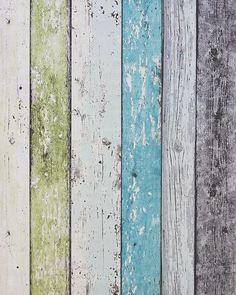 Steigerhout Vliesbehang Blauw/Groen bij Behangwebshop: