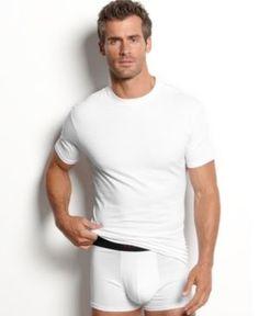 alfani men's underwear, cotton spandex tagless slim fit crew neck Undershirt 2 pack - White S Men's Underwear, White Underwear, Mens Hairstyles With Beard, Perfect Man, Baby Clothes Shops, Trendy Plus Size, Slim Fit, Neck T Shirt, Cotton Spandex