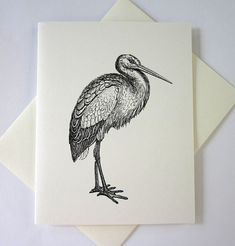 Stork Cards Set of 10 in White or Light Ivory by PetitePaperie, $10.00