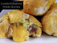 Loaded Mashed Potato Bombs.....seasoned mashed potatoes and cheese wrapped in biscuits, then baked.