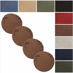 Rhody Rug Woolux Wool Reversible Chair Pads (Set of 4) (Walnut), Brown