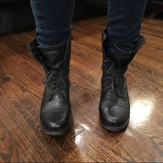 Steve Madden black leather combat boots Steve Madden black leather laced up combat boots. Size 8. Perfect condition. Worn about two times, not my style. Kind of like a cute army boot. Very trendy Steve Madden Shoes Combat & Moto Boots