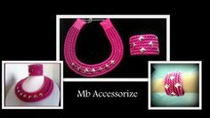 Fuxia necklace and bracelets with studs. Avaible in more colors.