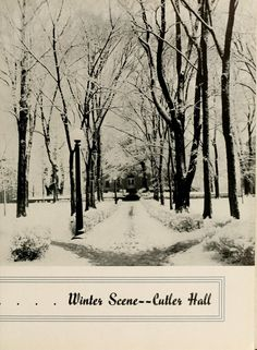 Athena yearbook, 1937. Cutler Hall on College Green during winter. :: Ohio University Archives