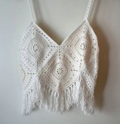 Women's crochet Top with Fringes , Boho top , Granny square pattern , Granny square top , Festival top , Crochet Pattern , #Tops #Women's crochet Top w... - Zearz Limited - Google+