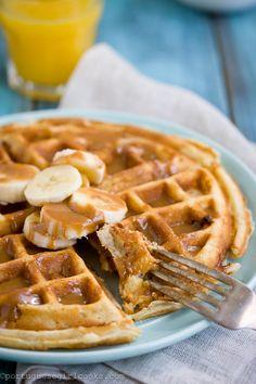Banana-Brown Butter Waffles with Dulce de Leche