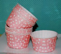 Coral Pink Polka Dot Candy Cups  Nut cups  Baking cupcake liners or muffin cups  Ice cream cup  dessert cups portion cup - (24) count. $4.79, via Etsy.