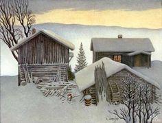 By Lennart Helje. Painter and illustrator, born in 1940 in Sweden. Art And Illustration, Baumgarten, I Love Winter, Winter Picture, Winter Sky, Winter Landscape, Winter Christmas, Christmas Cards, Winter Wonderland