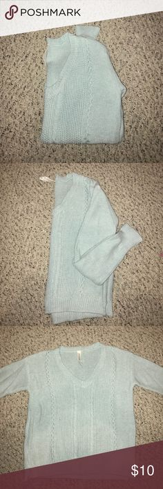 Aero Open Stick V-Neck Sweater •used once  •pale blue  •open stitch Aeropostale Sweaters V-Necks