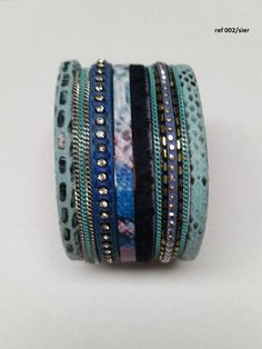 Blauwe multirij strass armband