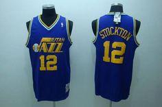 f7bcb7f99 Jazz  12 John Stockton Embroidered Blue Throwback NBA Jersey Throwback Nba  Jerseys