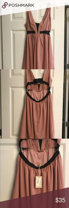 Bevello salmon mini Dress Deep V cut, w/ scoop back Bevello Dresses Mini