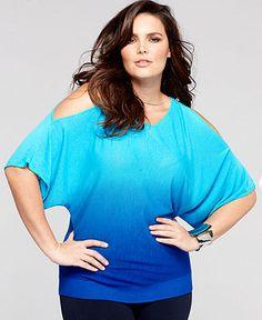 INC International Concepts Plus Size Sweater, Kimono-Sleeve Cutout-Shoulder Ombre - Sweaters - Women - Macy's
