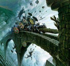 The Battle of Helms Deep, Fantasy Art, Mixed Media. Illustrations relating to the works of J. High Fantasy, Fantasy Battle, Medieval Fantasy, Hobbit, Fantasy Concept Art, Fantasy Artwork, Helms Deep, 70s Sci Fi Art, Fantasy Kunst