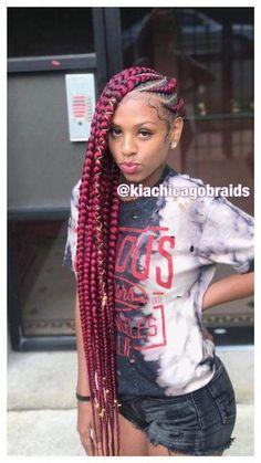 85 Box Braids Hairstyles for Black Women - Hairstyles Trends Box Braids Hairstyles, Lemonade Braids Hairstyles, Famous Hairstyles, Hairstyle Braid, Prom Hairstyles, Protective Hairstyles, Hairstyle Ideas, Black Girl Braids, Braids For Black Hair