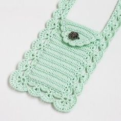 Crochet Phone Cover Mint crossbody phone purse Boho chic Cell phone pouch Smartphone bag Wallet Case Cover Crochet lace Gift for mom, grandma - Clutch En Crochet, Crochet Pouch, Diy Crochet, Hand Crochet, Mobiles En Crochet, Crochet Mobile, Crochet Phone Cover, Crossbody Phone Purse, Studded Shorts