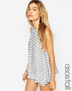 ASOS TALL Vest With Drop Armhole In Reverse Stripe