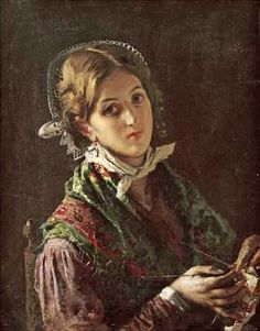 A Woman Knitting Art Print by Mose Bianchi at Barewalls.com