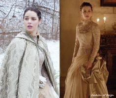 In the thirteenth episode Mary wears one stunning Brocade High-Neck Tulle Gown underneath pearl-colouredBrocade Cape. These items, including her Embellished Gloves, were made by Reign's costume department! She wears this costume with these Oscar de la Renta earrings.