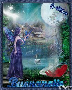 Buona Notte con le Fate 10 immagini magiche - Bgiorno.it Love You Images, Glitter Gif, Italian Life, Good Night Wishes, Fairy, Angel, Cottages, Gifs, Painting