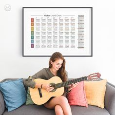 Guitar Chord Chart Fretboard Poster Song Key Guitar Chords   Etsy Guitar Chord Chart, Guitar Chords, Printing Services, Online Printing, Laundry Symbols, Laundry Room Art, Websites Like Etsy, International Paper Sizes, Music Education
