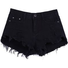 Sheinside Women's Mid Waist Button Fly Ripped Denim Shorts (S, Black)... (€20) ❤ liked on Polyvore featuring shorts, bottoms, pants, black distressed shorts, ripped jean shorts, ripped denim shorts, denim short shorts and black shorts