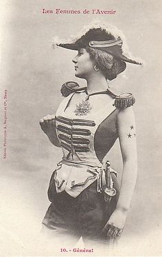 """The Women of The Future,"" according to 1902 French trading cards (Beautiful vintage pin-up photography - which is far tamer than most steampunk cosplay. :))"