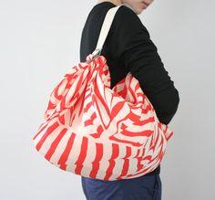 Stripe furoshiki bag (red) & white leather carry strap set