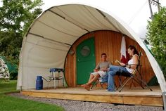This has to be one of the coolest things I've seen in a while. An interesting, more permanent take on the classic teardrop trailer, I love their division of outdoor/indoor space.