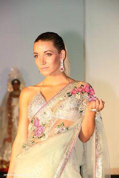 Miss New Jersey Cara McCollum wearing a beautiful Mitan Ghosh #Saree at Atlantic City Fashion Week http://www.pinterest.com/pin/24066179233486094/ https://www.facebook.com/mitan.ghoshrc