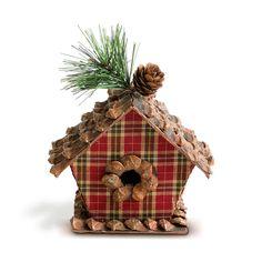 Enfeite para arvore de natal - casinha de passaro xadrez vermelha e verde, tamanho pequeno, 12x6x13c