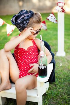 Red and white polka dot Retro one piece girls by RedDollyGirls, $38.00