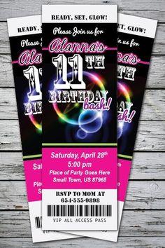 Glow Birthday Party Invitation Ticket Stub Neon Bracelet Necklace Blacklight 2x6 | eBay