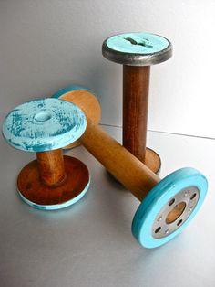 Vintage Industrial Spools, Shabby Beach Decor, Aqua Blue, Turquoise, Brown, Rustic, Farmhouse $15