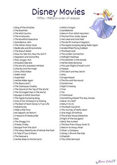 Free Disney Movies List of Films on Printable Checklists - - A printable Disney movies list is available for die-hard Disney fans. The checklist includes more than 400 movies from the last 81 years! Walt Disney Animated Movies, Disney Original Movies List, Disney Movies To Watch, Disney Movie Quotes, Walt Disney Animation, Best Disney Movies, Disney Films List Of, List Of Disney Princesses, Disney Princess Movies List