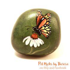 Painted Rocks - Butterfly Rock - Garden Decor - Monarch Butterfly painted rock…