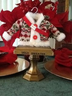 Ugly christmas sweater trophy - Emma Lee home Tacky Christmas Party, Best Ugly Christmas Sweater, Christmas Party Themes, Diy Christmas Gifts, Christmas Time, Xmas Party, Holiday Ideas, Christmas Ideas, Pj Party