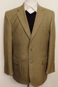 Jos A Banks Mens Sport Coat Glen Plaid Brown Wool Two Button Size 42 R #JosABank #TwoButton
