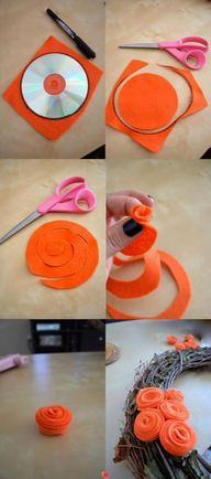 DIY Easy felt flower; I've seen this flower made before, but I hadn't considered clusters on a wreath.