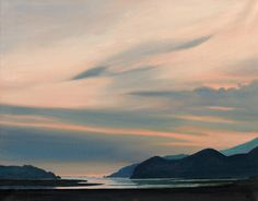 Sunset over Mawddach, an original oil painting by Rob Piercy