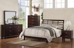 A.M.B. Furniture & Design :: Bedroom furniture :: Bedroom Sets :: Wood Bed Sets :: Headboard  Footboard sets :: 5 pc Preston Collection espresso finish wood queen bed set with grid style headboard and low footboard