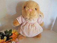 Rabbit Stuffed Animal 11 Pink Dress Girl Bunny Smooth