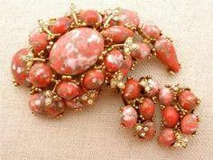 Vintage Dinosaur Egg Har Set Brooch Earrings Coral Mottled Rhinestone Signed | eBay