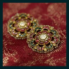 Classic studs crafted with uncut diamonds, pearls and tourmalines from the Sabyasachi Heritage Bridal Jewelry collection. Gold Earrings Designs, Gold Jewellery Design, Jewellery Diy, Jewelry Making, Branded Jewellery, Jewelry Branding, Gold Jewelry Simple, Silver Jewelry, Antique Jewelry