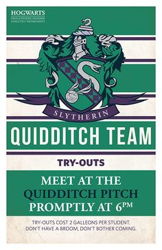 Slytherin Quidditch Tryouts by PaperHooch on Etsy