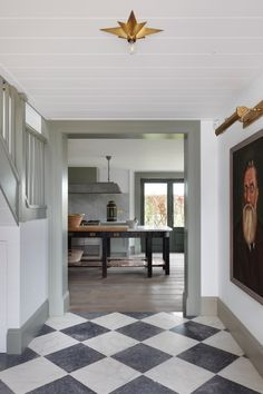 Design by Tom House. Black and white checkered floors Interior Garden, Interior And Exterior, Interior Paint, Hallway Flooring, Entryway Tile Floor, Tile Flooring, Entry Foyer, Entrance Hall, Checkerboard Floor