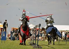 Real competitive jousting in full armour by Destrier at the East Anglian Medieval Fayre.