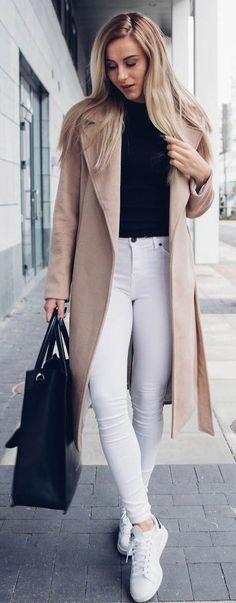 Skopljak Camel Coat On Black And White Fall Street Style Inspo                                                                             Source